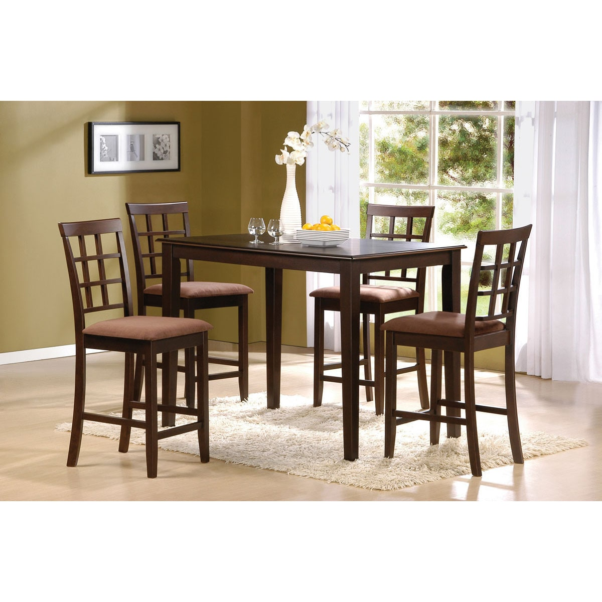 Cardiff 5 Piece Espresso Finish Pack Counter Height Dining Table Set - Overstock™ Shopping - Big ...