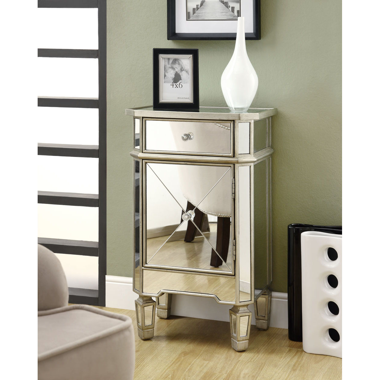 Mirrored Cabinet: Mirrored 1-drawer Accent Cabinet