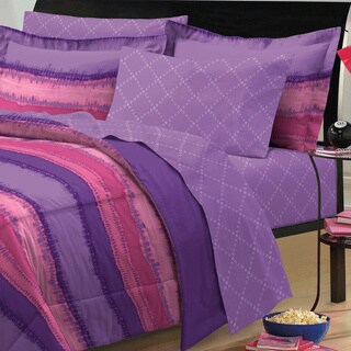 Tie Dye Purple/ Pink 7-piece Bed in a Bag with Sheet Set