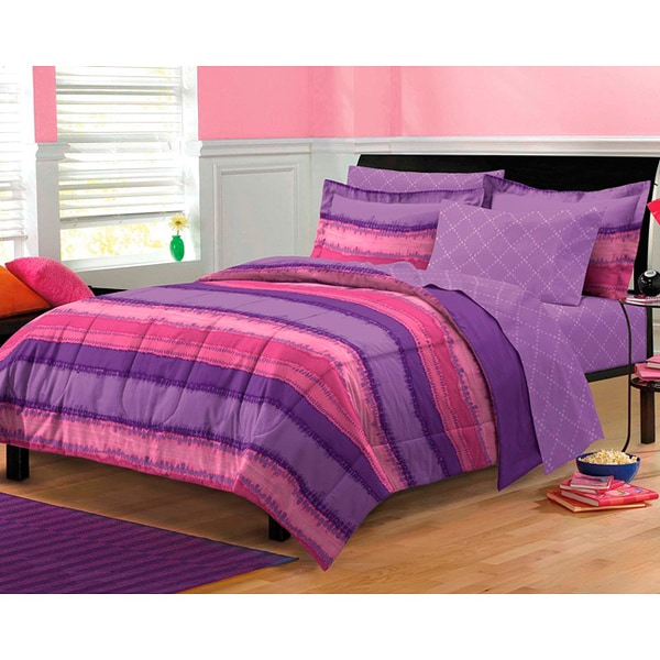 Purple And Pink Bedroom: Tie Dye Purple/Pink 7-piece Bed In A Bag With Sheet Set