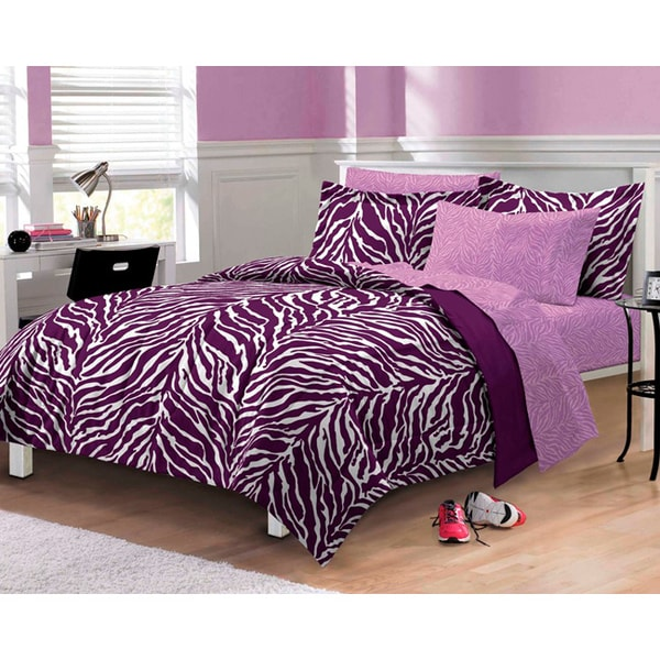 Zebra 6 Piece Bed In A Bag With Sheet Set Overstock