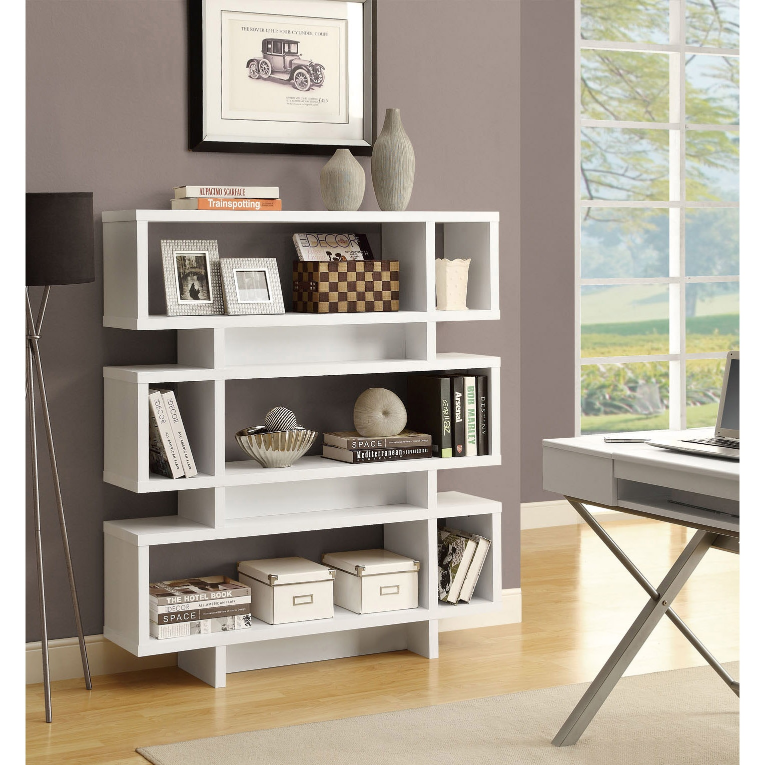 White 55 Inch High Modern Bookcase 14348523 Overstock Com Shopping Great Deals On Monarch