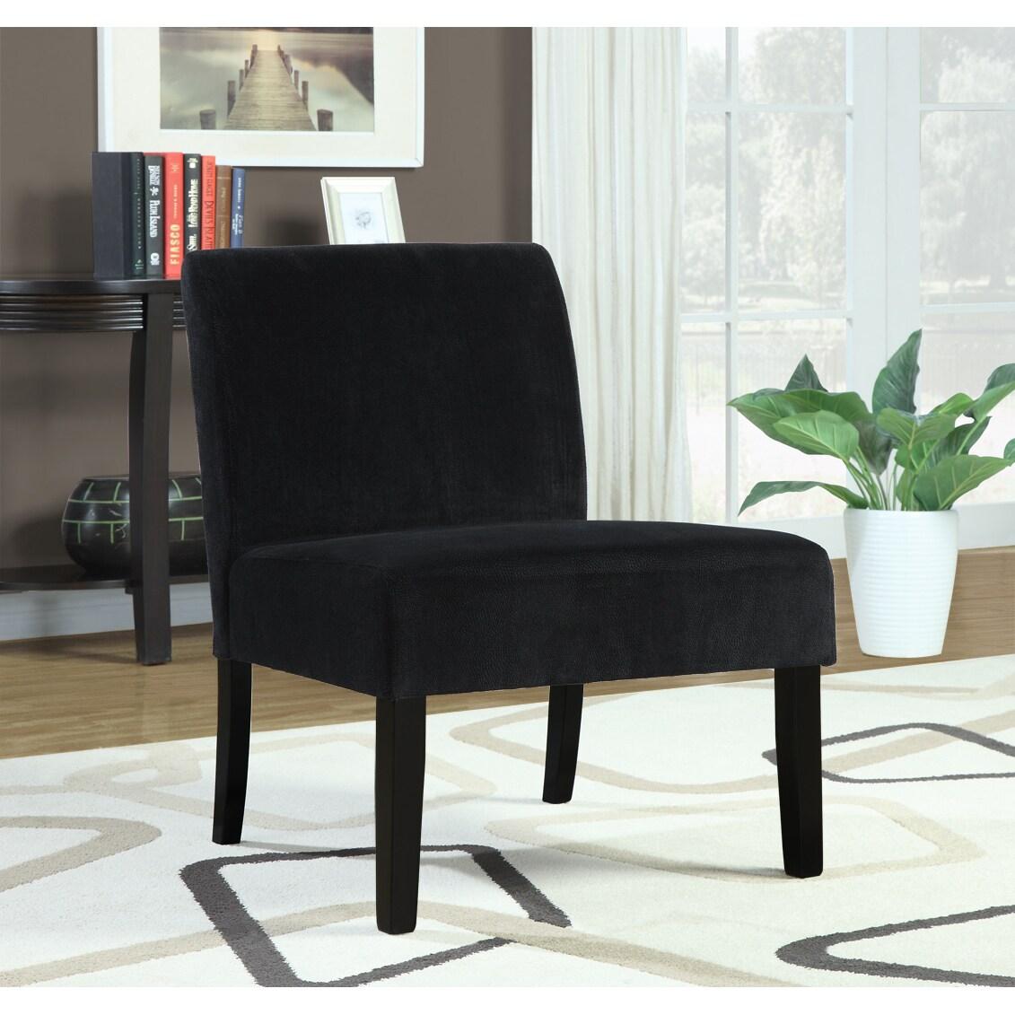 Black Crocodile Velvet Accent Chair 14349421 Overstock