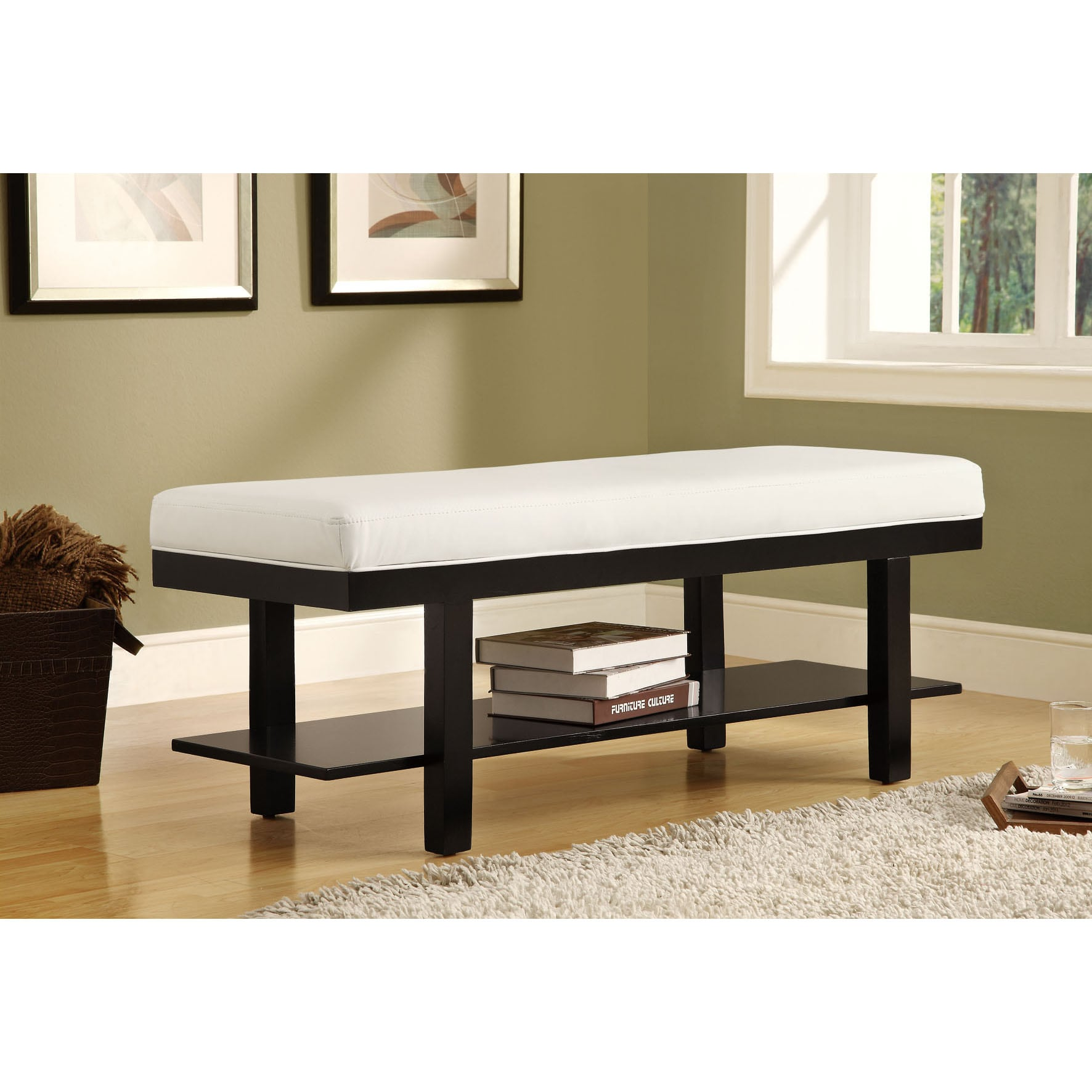 Black Solid Wood White Leather Look Bench 14349452