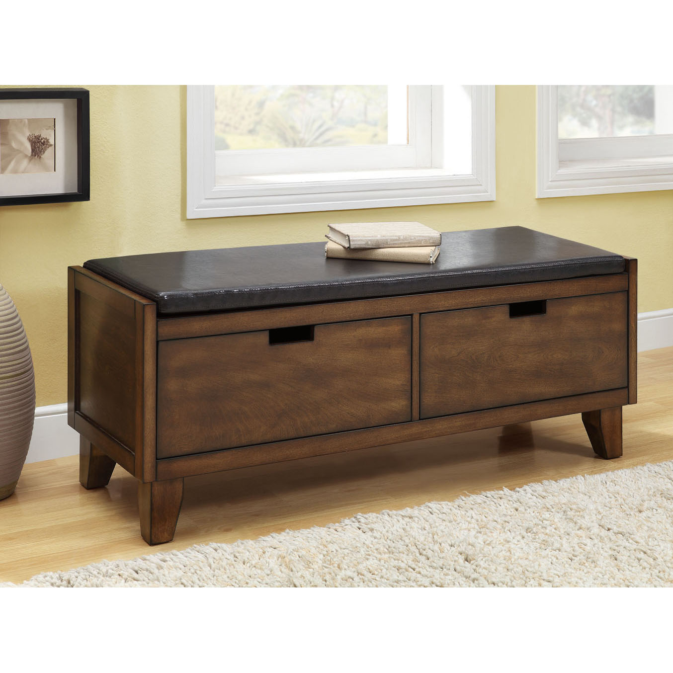 Dark Walnut Solid Wood Bench With Drawers 14349456