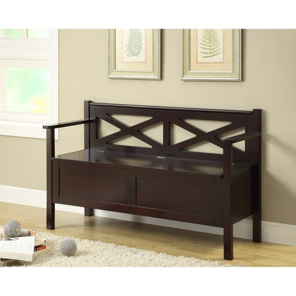 Cappuccino Solid Wood Bench With Storage 14349461