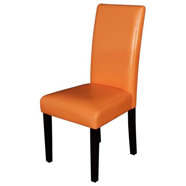 Villa Faux Leather Sunrise Orange Dining Chairs Set Of 2