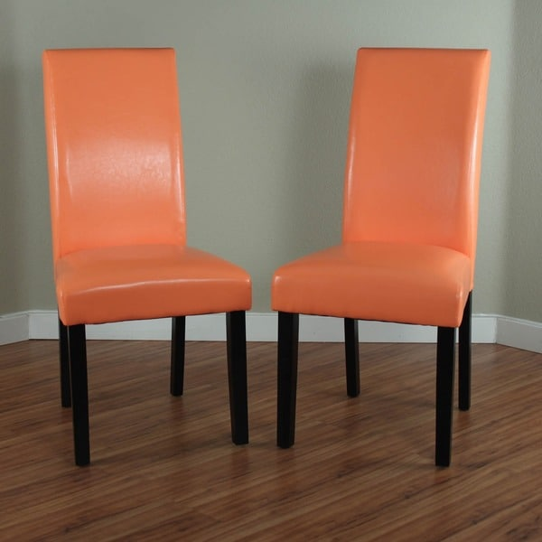 Orange Dining Chairs: Villa Faux Leather Sunrise Orange Dining Chairs (Set Of 2