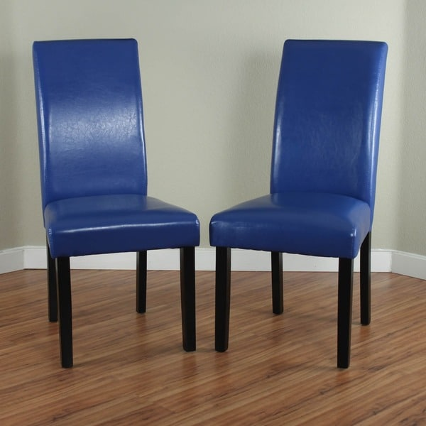 Villa Faux Leather Blue Dining Chairs Set Of 2