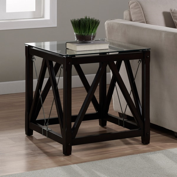 Overstock End Tables: Cable Black Wood/ Glass End Table