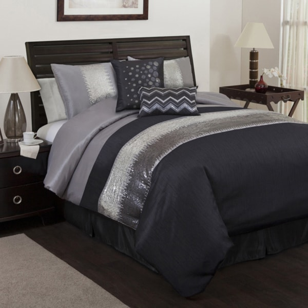 Bedding Decor: Lush Decor Grey/Black Night Sky 6-piece Comforter Set