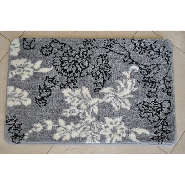 Memory Foam Grey White Floral 20 X 32 Bath Mat 14359983