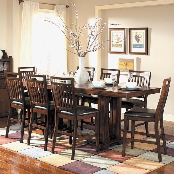 Tribecca Home Acton Warm Merlot X Back Casual Dining Side: TRIBECCA HOME Harper Warm Cherry 9-piece Counter Height