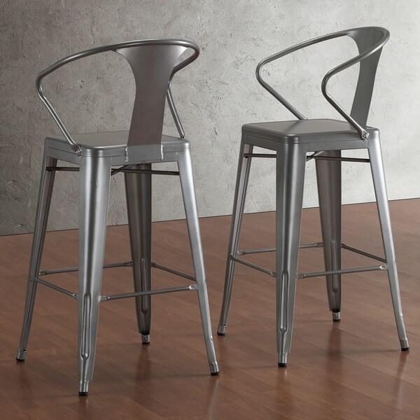 tabouret silver with back 30 inch bar stools set of 2. Black Bedroom Furniture Sets. Home Design Ideas