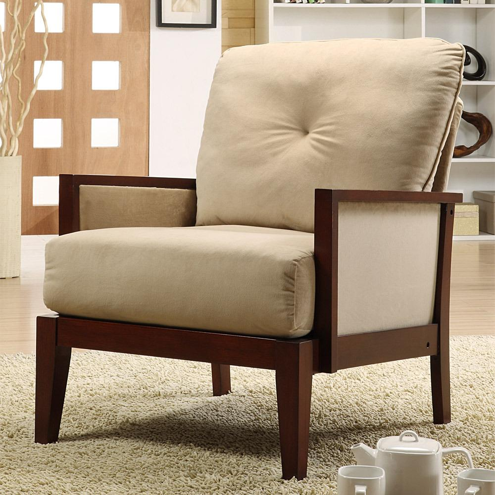 Caney brown microfiber accent chair 13090392 overstock - Microfiber living room furniture sets ...