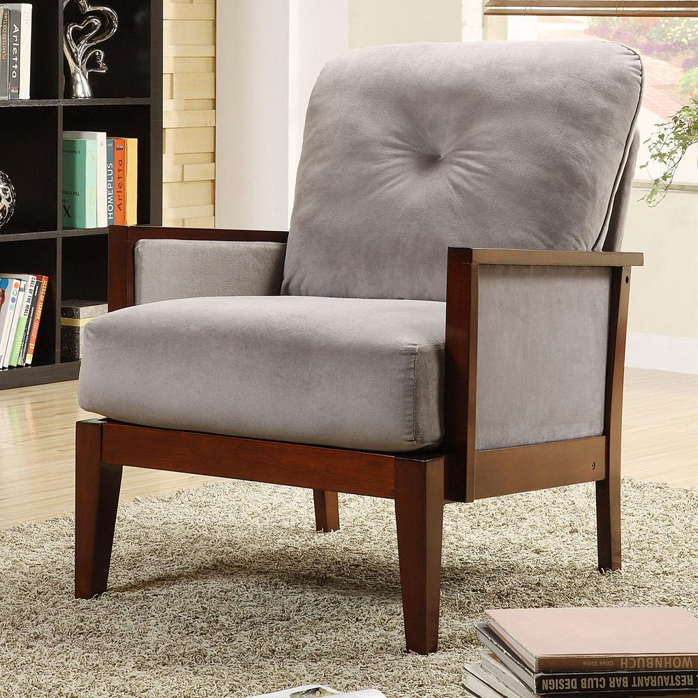 Caney Grey Microfiber Accent Chair 13090394 Overstock