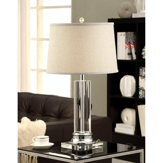 Column Clear Crystal/Chrome Table Lamp with Grey Shade