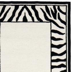 Safavieh Hand Hooked Zebra Border White Black Wool Rug 2
