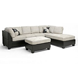 Fine Mancini Dark Brown Beige Modern Sectional Sofa And Ottoman Onthecornerstone Fun Painted Chair Ideas Images Onthecornerstoneorg