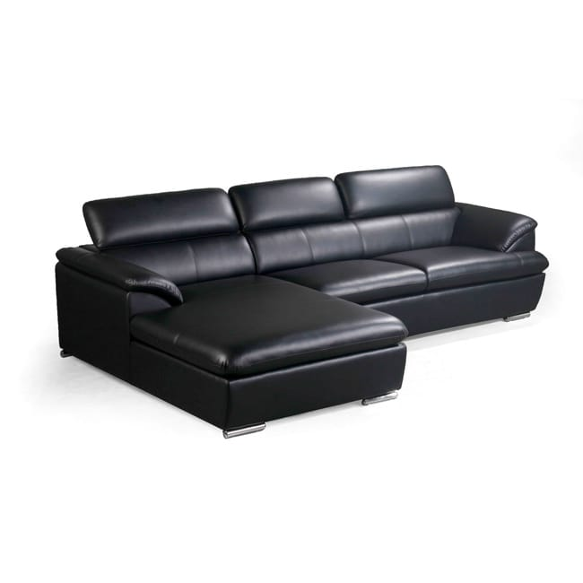 Franklin Black Modern Sectional Sofa With Adjustable