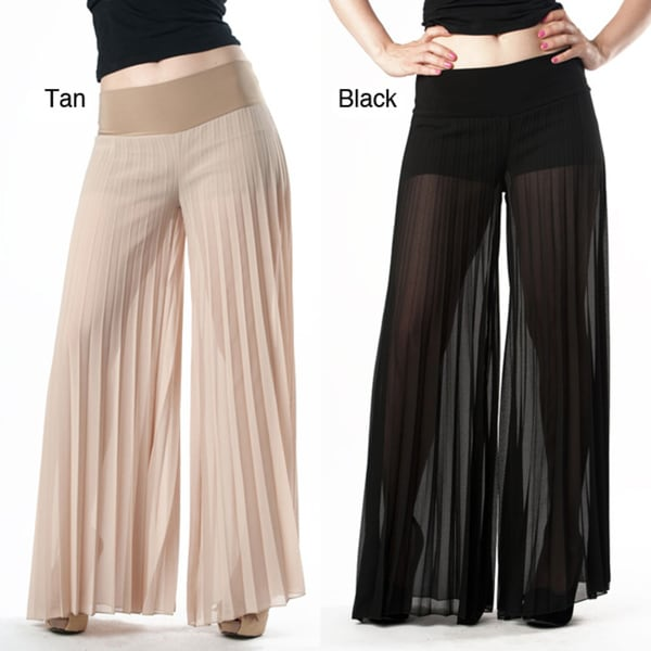 Tabeez Women's Sheer Pleated Wide Leg Pants - 14479198 - Overstock.com Shopping - Top Rated ...