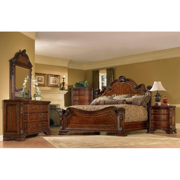 Old World King Size Estate 5 Piece Bedroom Set 14484653