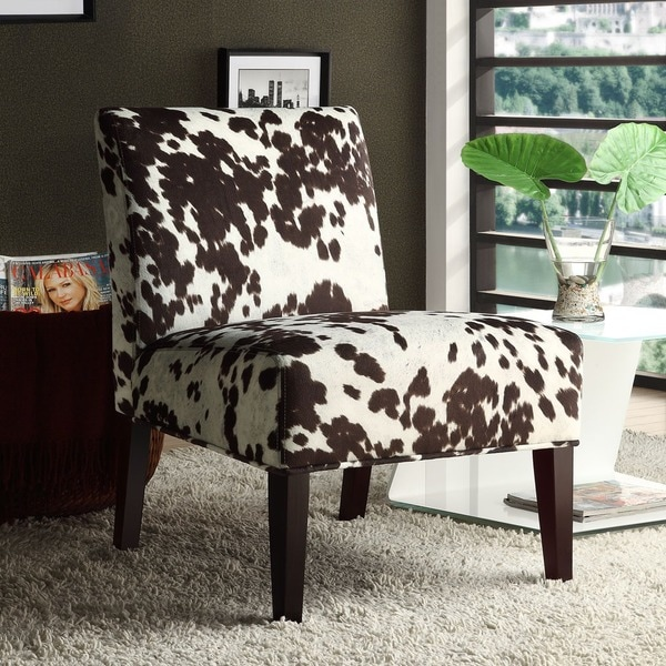 Cowhide Barstools Vintage Black White Hairhide Leather Bar: INSPIRE Q Peterson Cowhide Fabric Slipper Accent Chair