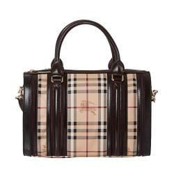 9b3ad3386f94 Cheap Burberry Medium Haymarket Check  Chocolate  Plum Bowler Bag ...