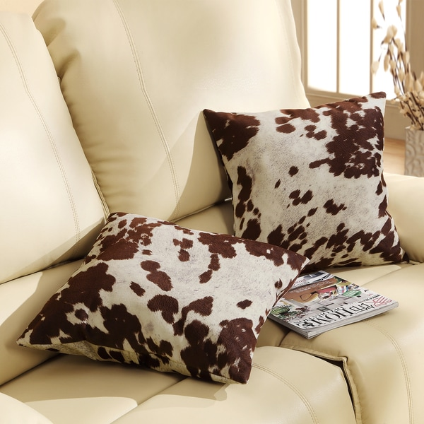 TRIBECCA HOME Decor Cow Hide Print Pillow (Set Of 2