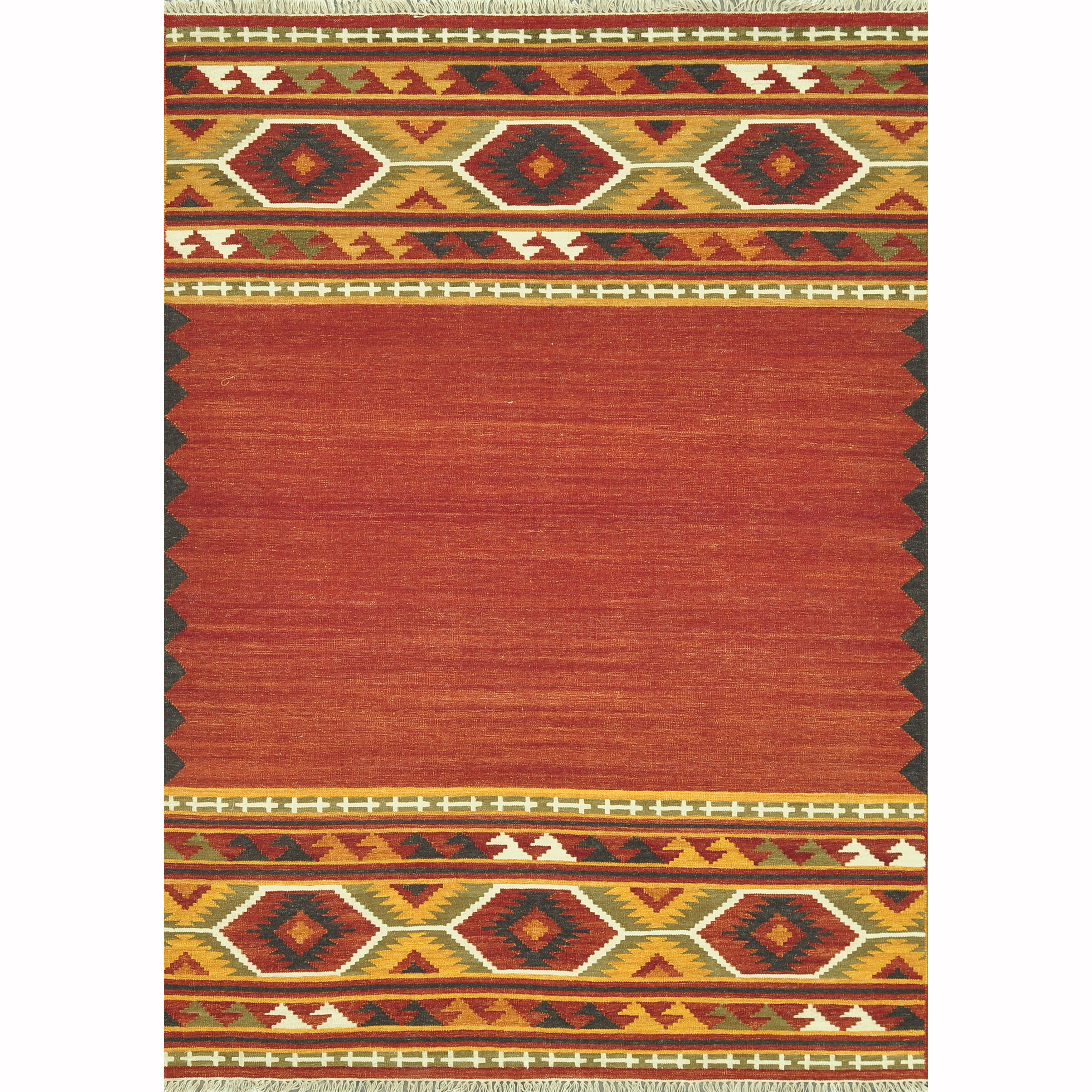 Hand Woven Cordova Red Gold Rug 5 X 7 6