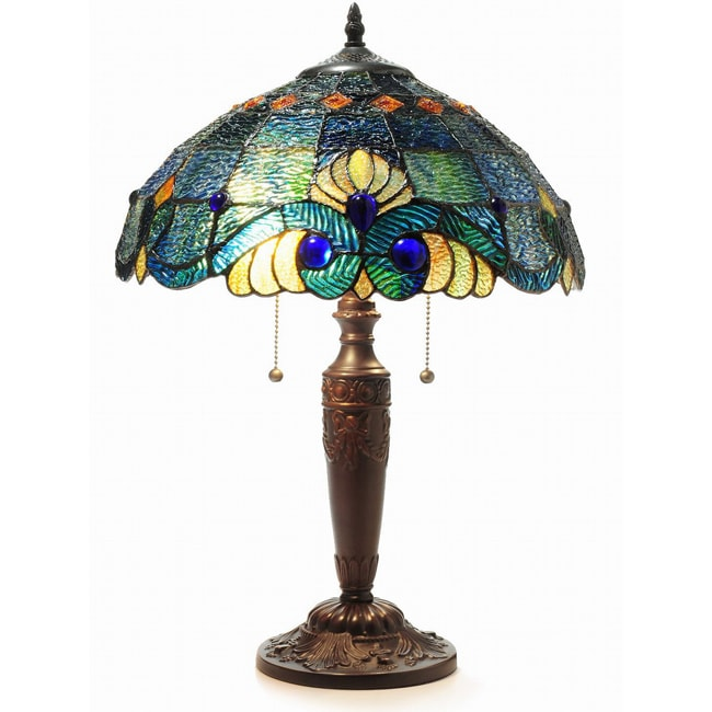 Tiffany Style Blue Vintage Table Lamp Overstock Shopping