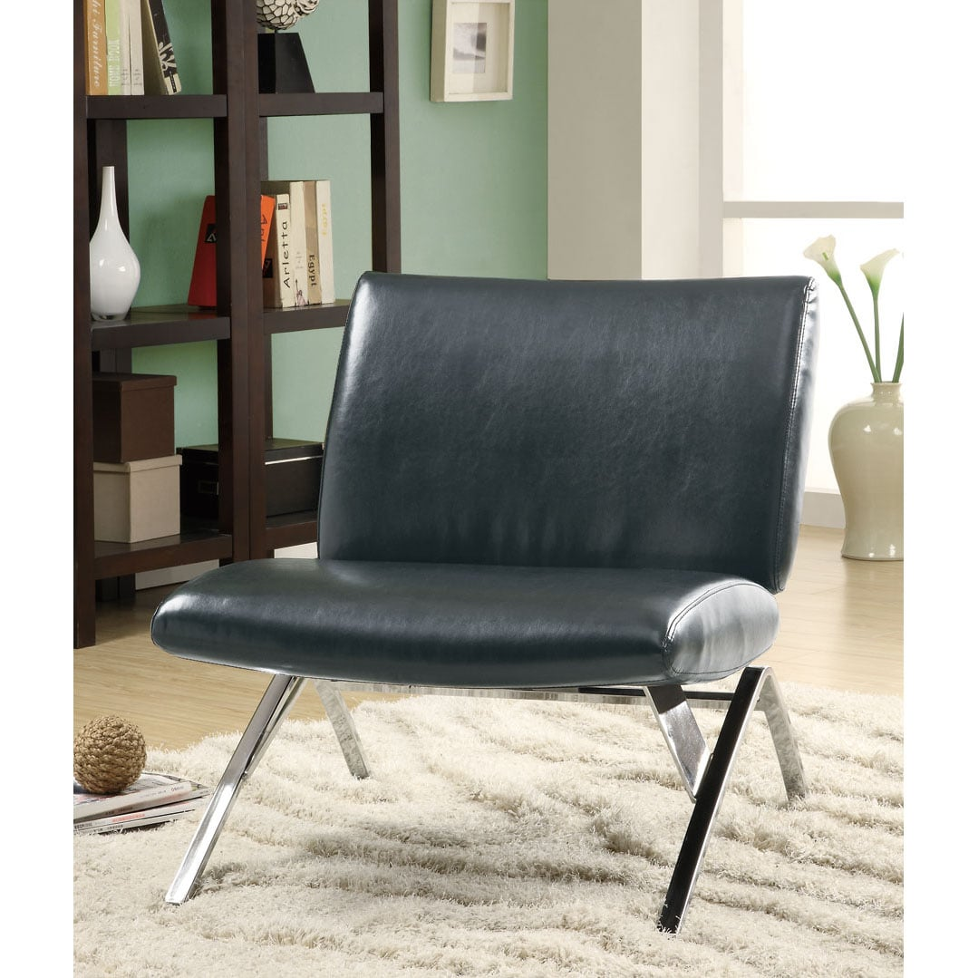 Black Leather Look Chrome Metal Modern Accent Chair