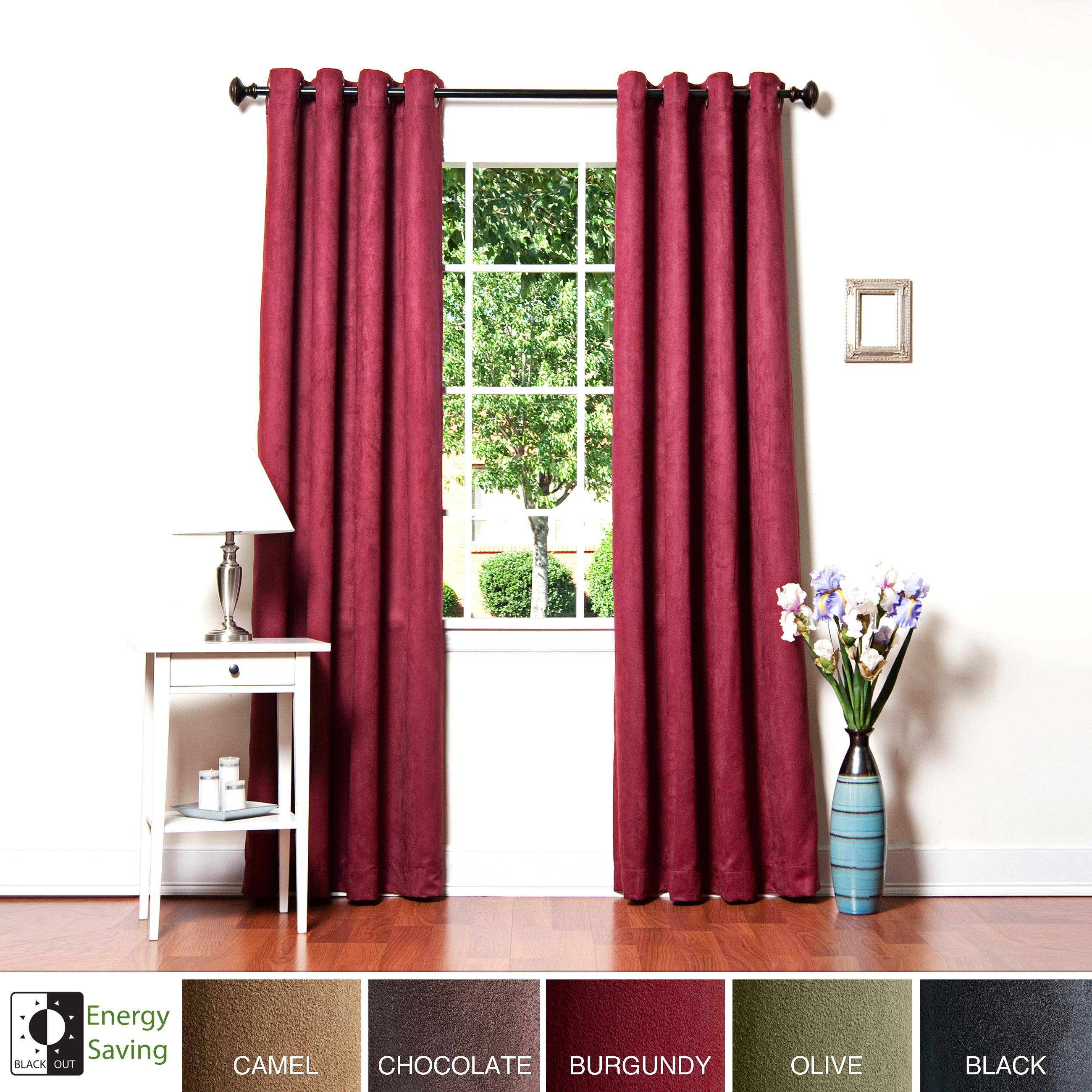 Faux Suede Grommet 95-inch Insulated Blackout Curtain