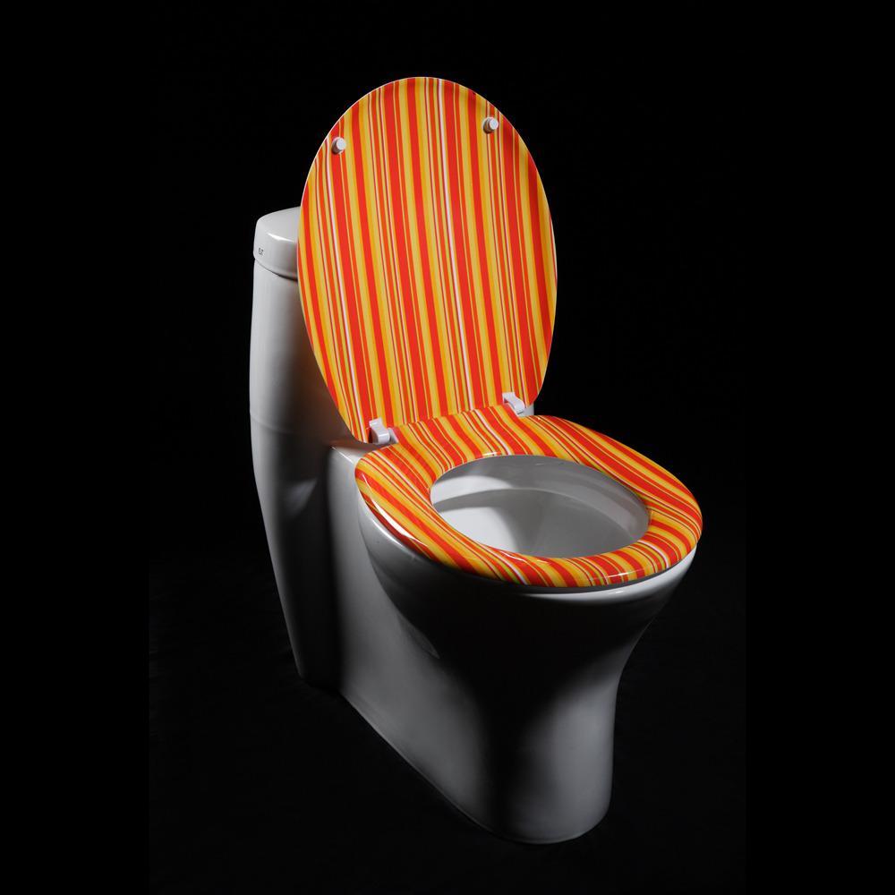 American Standard Toilet Seats >> Orange Cabana Stripe Designer Melamine Toilet Seat ...