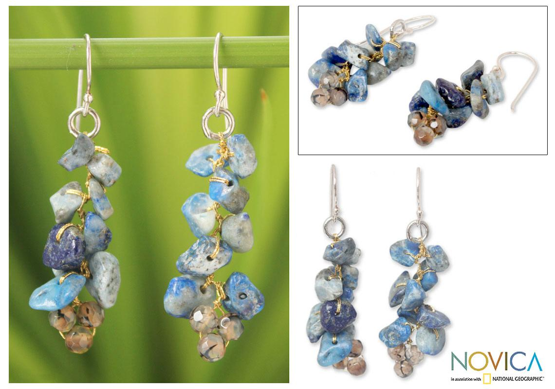 b3cb1e1f3e4d6 Silver Afternoon Blue Lapis Lazuli Agate Earrings (Thailand on PopScreen