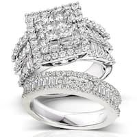 Annello by Kobelli 14k White Gold 2 5/8ct TDW Diamond Halo Bridal Ring Set (H-I, I2-I3)