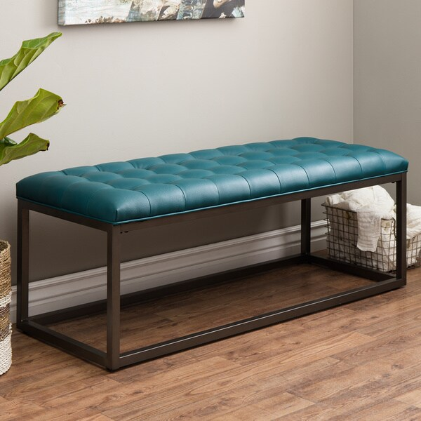 Healy Teal Leather Tufted Bench 14518045 Overstock Com