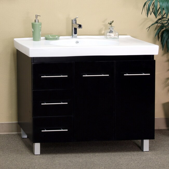 Black Wood 39 Inch Single Sink Vanity With Left Side