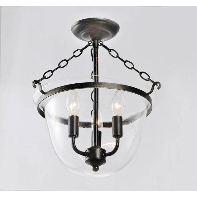 Antique Copper Finish Glass Lantern Flushmount Chandelier