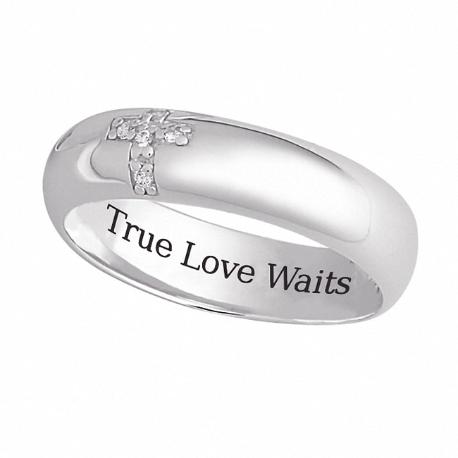 Sterling Silver 'True Love Waits' CZ Cross Band - 14535221 ...