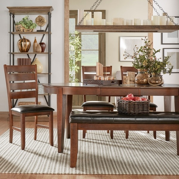 Tribecca Home Acton Warm Merlot X Back Casual Dining Side: TRIBECCA HOME Camden Oval Shape Extending Dining Set