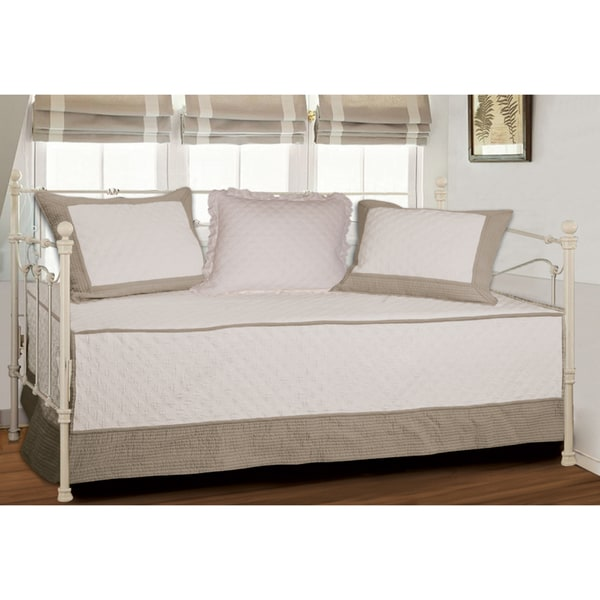 Greenland Home Fashions Brentwood Quilted Ivory Taupe 4
