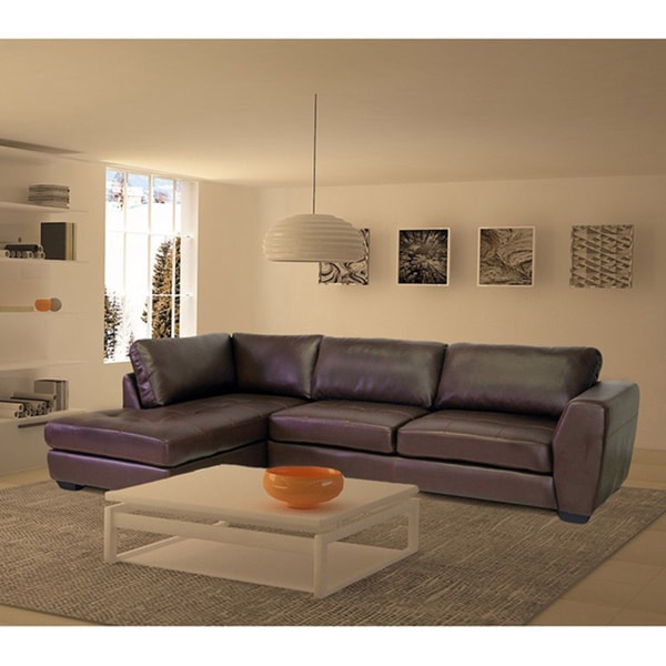Orland Brown Leather Modern Sectional Sofa Set With Left