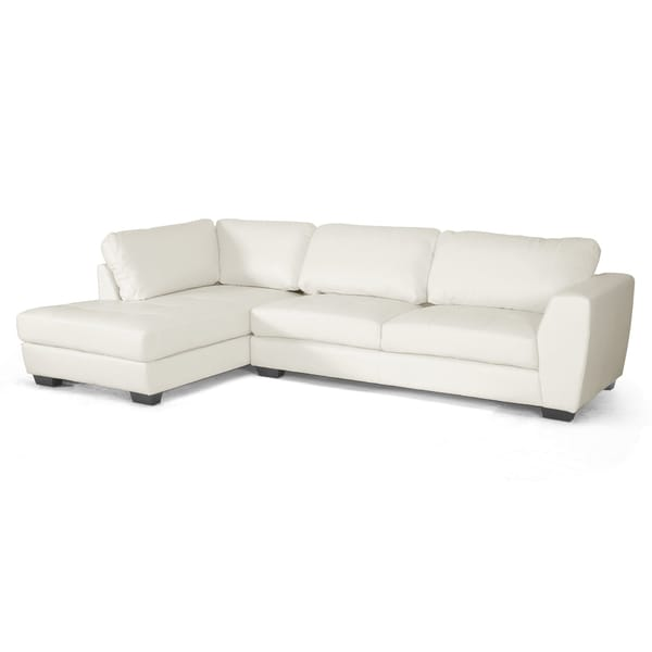 Orland White Leather Modern Sectional Sofa Set With Left