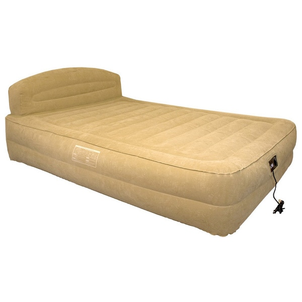 Airtek Queen Size Raised Air Bed With Headboard And Built In Pump With Bonus Fitted