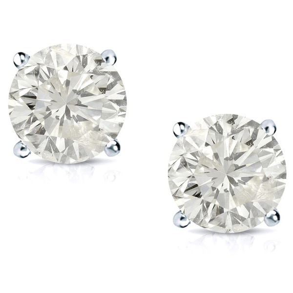 Auriya Platinum 1ct TDW Round Clarity-Enhanced Diamond Stud Earrings
