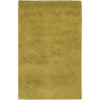 Hand Tufted Olive Green Border Wool Rug 8 X 10 6
