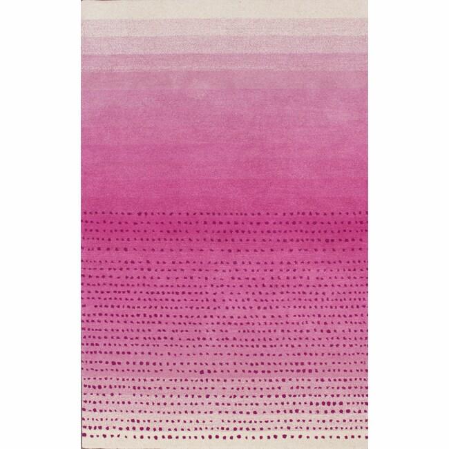 Nuloom Handmade Dotted Trellis Wool Kids Nursery Baby Pink: NuLOOM Handmade Soft And Plush Ombre Shag Rug (5' X 8