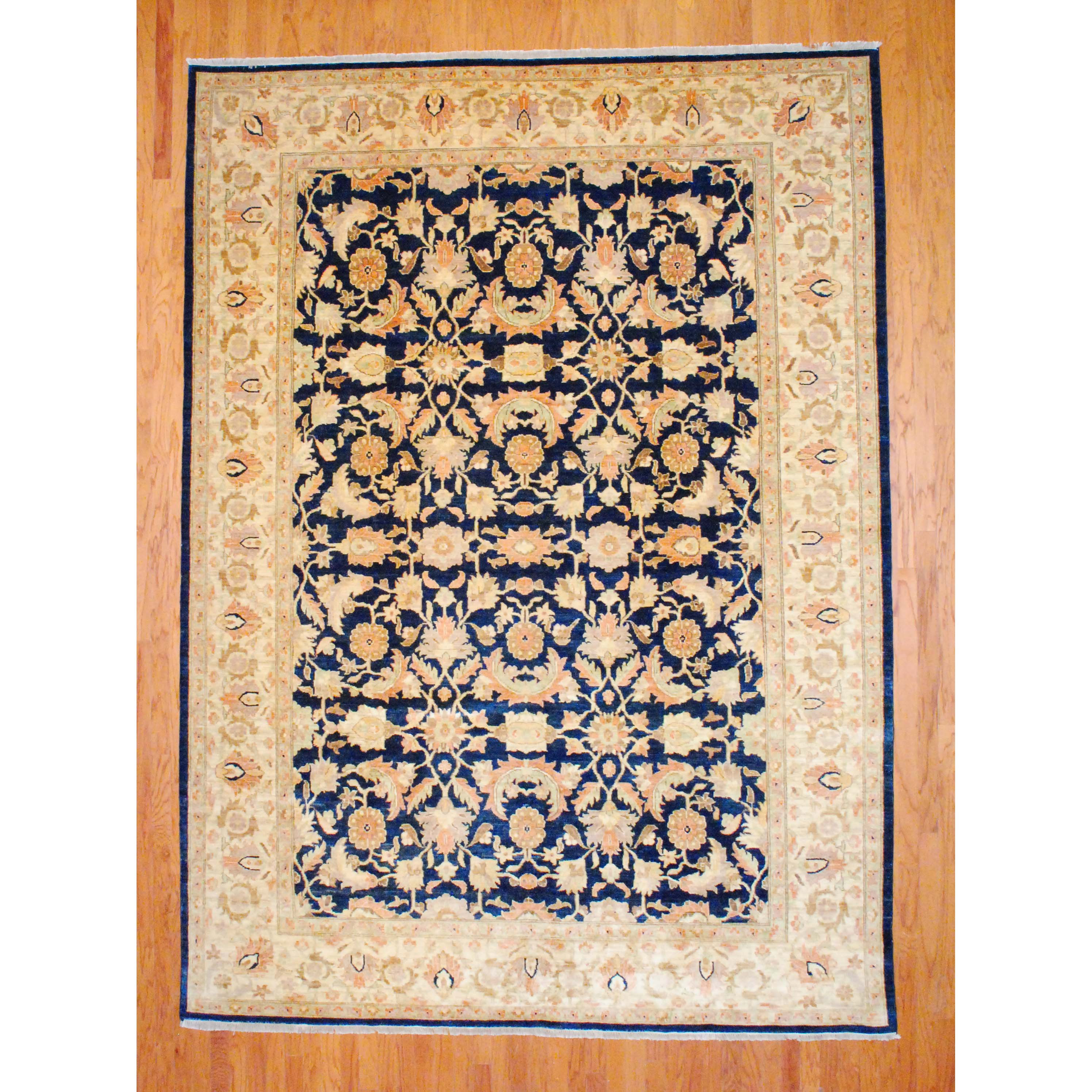 Vegetable Dyed Hand Knotted Floral Oushak Ivory Persian: Worldstock Fair Trade