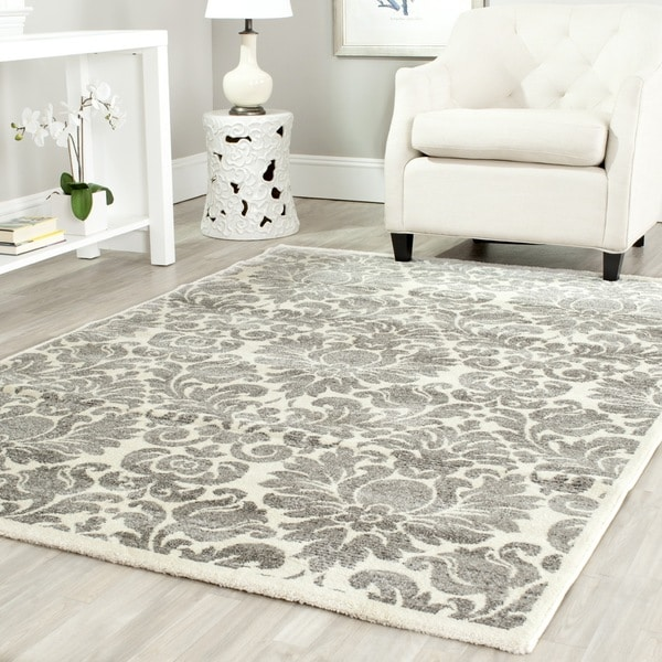 Safavieh Porcello Damask Ivory Grey Rug 5 3 X 7 7